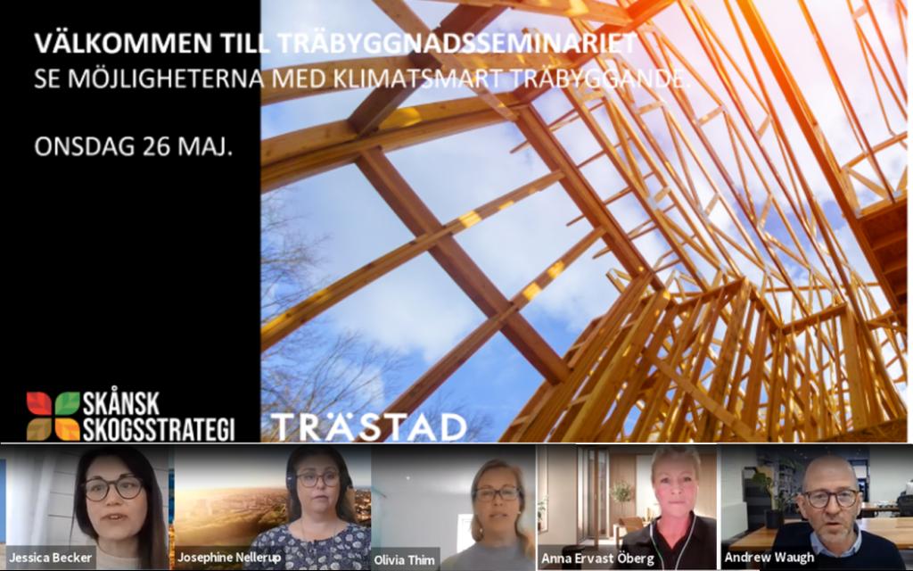 Bildkollage - talare på Träbyggnadsseminariet 26 maj 2021.